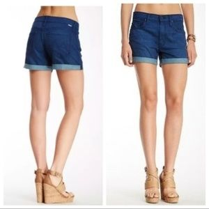 Mother Dropout Cuff Shorts denim jean Bright eyes